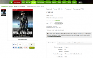 дата релиза Metal Gear Solid: Ground Zeroes